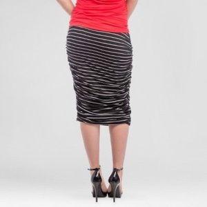 Black & White Striped Ruched Midi Skirt